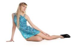Meisje in het blauw Royalty-vrije Stock Foto
