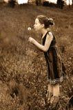 Meisje het blazen paardebloemsepia toon Royalty-vrije Stock Afbeeldingen