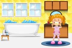 Meisje het borstelen tanden royalty-vrije illustratie
