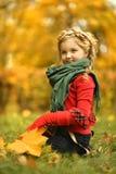 Meisje in het de herfstpark Stock Foto's