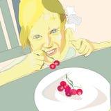 Meisje het eten Stock Afbeeldingen