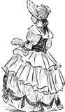 Meisje in het historische kostuum Stock Foto's