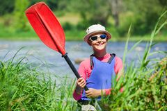 Meisje het kayaking Royalty-vrije Stock Foto