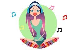 Meisje het luisteren muziek Royalty-vrije Stock Afbeelding