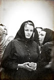 Meisje in het onkruid volkskostuum van de weduwe van Vracov Royalty-vrije Stock Fotografie