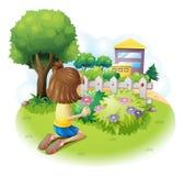 Meisje het plukken bloemen Stock Afbeelding