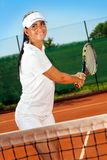 Meisje het praktizeren tennis Stock Foto's