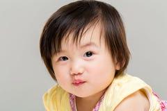 Meisje het pruilen lip Stock Afbeelding