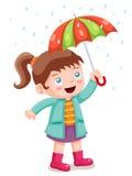 Meisje in het regenen met paraplu royalty-vrije illustratie
