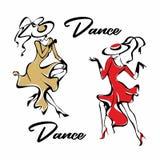 Meisje in het rode kleding dansen Het meisje in de hoed dancing Pret Vector royalty-vrije illustratie