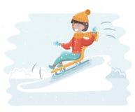 Meisje het sledding op de sneeuw Stock Foto's
