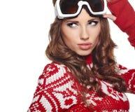 Meisje het snowboarding Stock Foto's