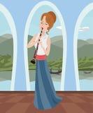 Meisje het spelen klarinet bij romantische zaal stock illustratie