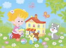 Meisje het spelen met een pop en een stuk speelgoed huis vector illustratie