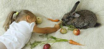 Meisje het spelen met konijn Royalty-vrije Stock Foto's