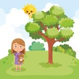 Meisje het spelen op het park vector illustratie