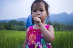 Meisje het spelen in padieveld en hebben één of ander insect landend op haar hand royalty-vrije stock afbeeldingen