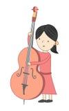 Meisje het spelen violoncel op witte achtergrond wordt geïsoleerd die Stock Foto