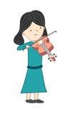Meisje het spelen viool op witte achtergrond wordt geïsoleerd die Stock Afbeelding