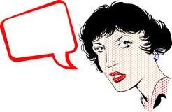 Meisje in het Spreken. Het Beeldverhaal van Popart vector illustratie