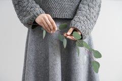 Meisje het stellen met eucalyptustak Stock Afbeelding