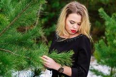 Meisje het stellen in pijnbomen Stock Foto's