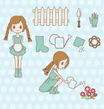 Meisje het tuinieren reeks Royalty-vrije Stock Afbeelding