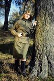Meisje in het uniform van het rode Leger Royalty-vrije Stock Foto's
