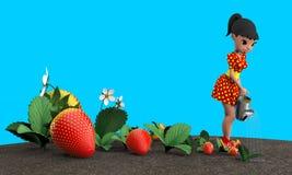 Meisje het water geven aardbeien Royalty-vrije Stock Foto