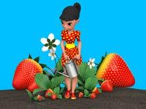 Meisje het water geven aardbeien Stock Foto's
