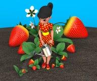 Meisje het water geven aardbeien Stock Afbeelding