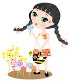Meisje het water geven bloemtuin vector illustratie