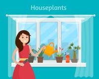 Meisje het water geven huisinstallaties op venster Stock Foto's