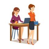 Meisje het werken bij computer in bureau, collega spreekt om te telefoneren stock illustratie