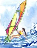Meisje het windsurfing op de golf, overzeese en hemelachtergrond royalty-vrije illustratie