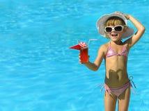 Meisje in het zwembad royalty-vrije stock afbeeldingen