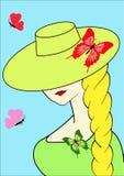 Meisje in hoed Stock Foto