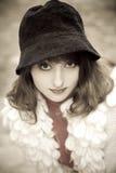 Meisje in hoed royalty-vrije stock foto