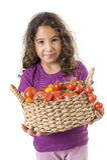 Meisje holdin een mand van tomaten stock afbeeldingen