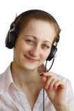 Meisje in hoofdtelefoons Stock Foto