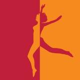 Meisje in hoogspringen in twee kleurenillustratie Royalty-vrije Stock Foto