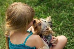 Meisje 6 jaar oud op gras het spelen met Yorkshire Terrier Royalty-vrije Stock Fotografie