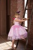 Meisje 6 jaar oude klimmen een ladder royalty-vrije stock afbeeldingen