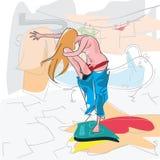 Meisje in jeans op de schalen Stock Afbeelding