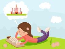 Meisje jong gelukkig het glimlachen lezingsboek die op Aardfantasie liggen, van het het Pictogramsymbool van Sprookjekarakters Mo royalty-vrije illustratie