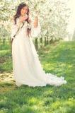 Meisje in kersenbloesem stock afbeelding