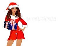 Meisje-kerstman Stock Foto