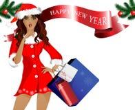 Meisje-kerstman met aankopen en giften Stock Foto