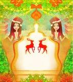 Meisje in Kerstmis geïnspireerde kostuumkaart Stock Fotografie