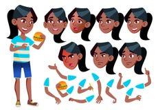 Meisje, Kind, Jong geitje, Tienervector zwart Afro Amerikaan leisure Onderwijs, Studie Gezichtsemoties, Diverse Gebaren vector illustratie